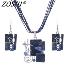 ZOSHI Fashion African Jewelry Set 2017 Colorful Leather Rope Chain Pendant Necklace Earrings Bridal Jewelry Sets Summer Jewelry(China)