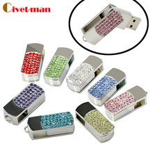 Metal Crystal  Full diamond rotary Key Chain USB 2.0 Flash Drive 4GB 8GB 16GB 32GB 64GB Memory Stick disk on key Pen drives