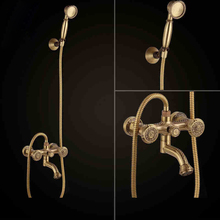 Bathtub Faucets Antique Brass Bath Rain Shower Faucet Head and Handheld Shower Faucet 2 Handel Bathroom Wall Mounted Tap LJ10119(China)
