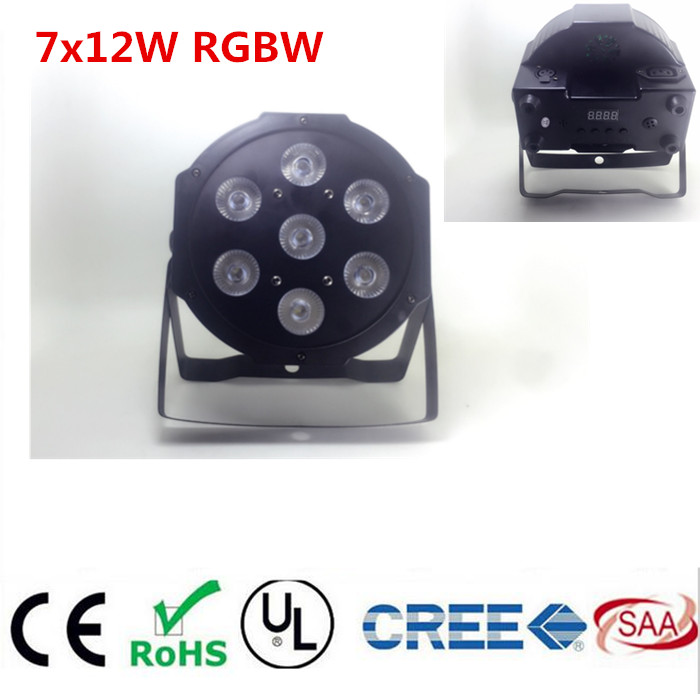 CREE RGBW 4in1 7x12W led par DMX Stage Lights Business Led Flat Par High Power Light with Professional for Party KTV Disco DJ<br>