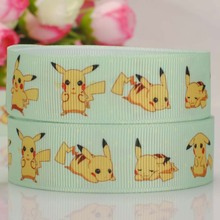 Wholesale Ribbon 50 yards Pikachu Printed Grosgrain Ribbon Hairbow