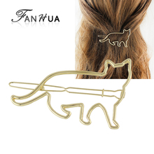 FANHUA  Minimalist Jewelry Gold-Color Silver Color Hair Accessories For Women Animal Cat Hairgrips Hairwear 2016 New Arrival