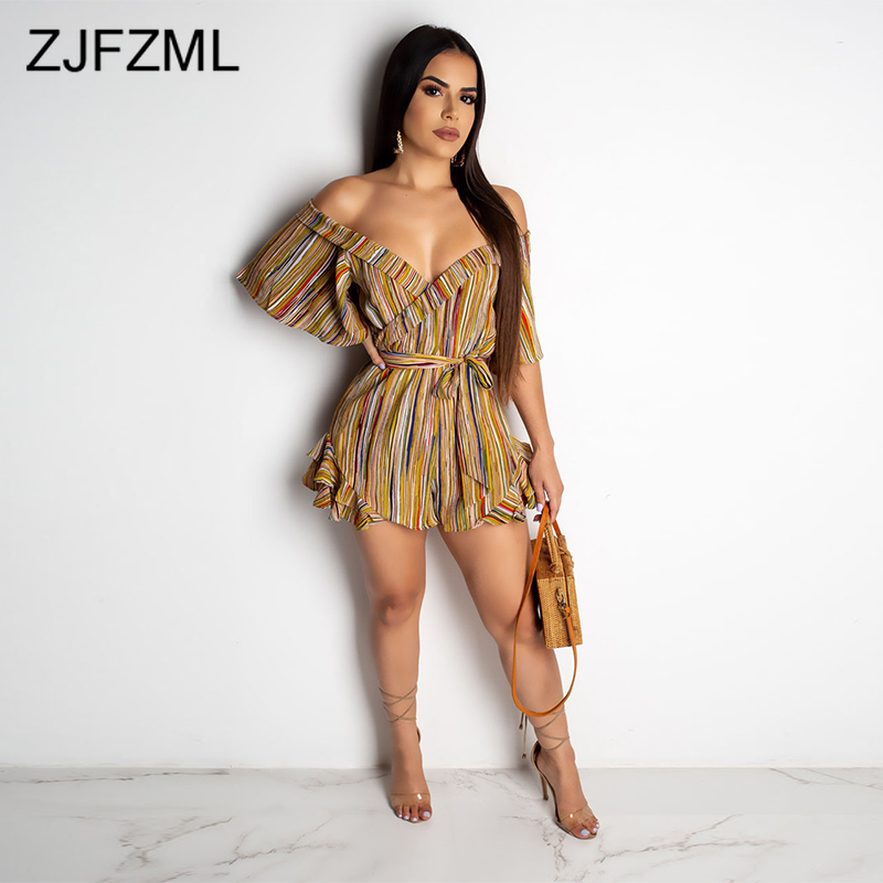 Colorful Striped Sexy Beach Playsuit Women Deep V Neck Half Sleeve One Piece Overall  Summer Off The Shoulder Backless Jumpsuit