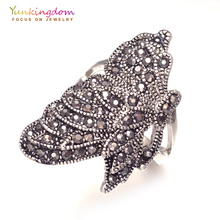 Animal design ethnic big rings for women crystal rhinestone ancient silver vintage jewelry gifts LPK1900(China)
