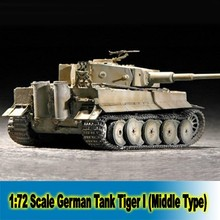 1:72 Scale Germany Tiger I (Middle Type)  Assembly Model kits 07243 Tank Builing Kits Free Shipping