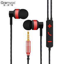 X25 Gramyoo Universal 3.5mm Stereo Metal Earphone Remote Photograph Take Photos Sports Metal Earbud with Mic for iPhone Android