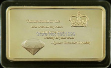 QUEEN'S DIAMOND JUBILEE Bar [Free Shipping+Wholesale] 10Pcs/Lot One Ounce 24K Gold Clad Queen Elizabeth II ,gold bullion