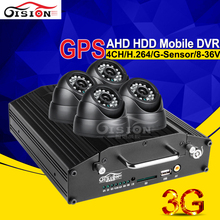 720P HD 4CH Video/Audio Input Real Time Surveillance AHD Vehicle Mobile dvr 3G GPS Remote Realtime Recorder IOS Andriod PC