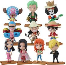 10pcs/lot ONE PIECE Action Figures Anime Luffy Zoro Nami Robin Chopper Sanji PVC Brinquedos Collection Figures Toys