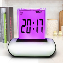 18pcs/Lot Colorful Table Clocks LCD Screen Push Alarm Clock Multi-Functional Large Display Desk Clock With Thermometer Calendar(China)