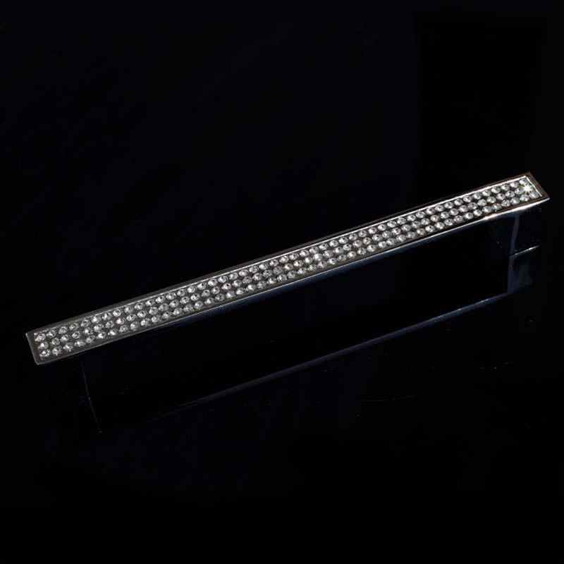 160mm fashion deluxe glass diamond furniture decoration handle silver kitchen cabinet dresser cupboard door pull  6.3 crystal<br><br>Aliexpress