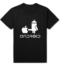 Men T Shirt Android Robot Man T-Shirt Apple Humor Logo Printed Funny TShirt Short Sleeve Creative Nifty Cool Hipster Novetly Tee(China)