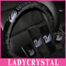 Ladycrystal 38CM Velvet Car Steering Wheel Cover Luxury Crystal Rhinestone Swan Auto Interior Accessories Steering Wheel Covers