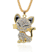 Pretty Rhinesto Cat Necklace For Women Gold Filled Enamel Crystal Long Sweater Chain Necklaces Pendants Christmas Gift For Girl