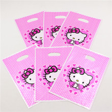 Handle Hello Kitty Cartoon Plastic Gift Bags For Girl Kids Birthday Party/Baby Shower Decoration Supplies Candy Bag Favors10pcs