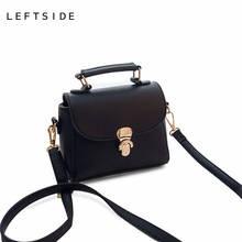 LEFTSIDE 2017 Casual Small Lock Tote Handbags ladies PU leather hand bags Mini Shoulder Messenger Crossbody Bag Black Pink Gray