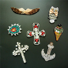 3D Handmade Rhineston beaded Patches cross,anchor,wingSew on sequined patch for clothing beading Applique cool patch(China)