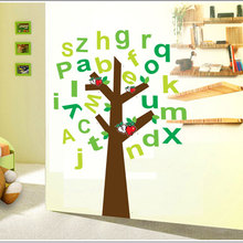 3D stickers,removable paper home decoration wall stickers home decals vinyl wallpaper apple tree English alphabet AY9070(China)