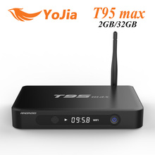 2GB/32GB T95 max Amlogic S905 Quad Core Android 5.1 TV BOX T95max Metal Case Dual WiFi BT4.0 Google Play Store LED Display