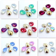 Wholesale 30PCS Teardrop Resin rhinestones beads 10x14mm DIY(China)