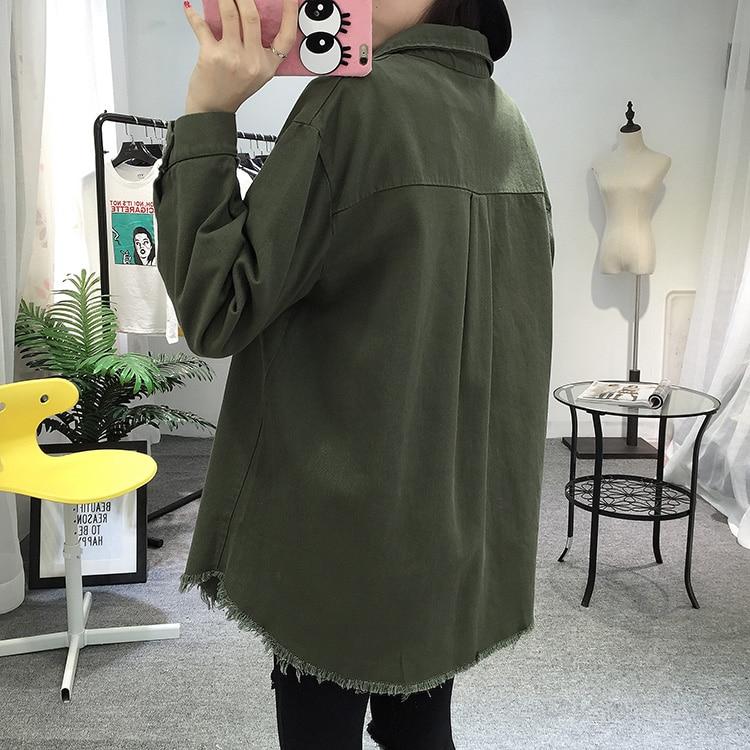 2018 Spring Autumn New Long Section Lapel Tassel Denim Jackets Women Loose Casual Long Sleeve Female\'S Thin Basic Jacket Coats (24)