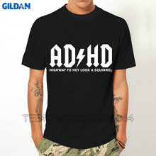 Gildan Tee4U Graphic Clothing O-Neck Design Short Sleeve Mens Adhd Highway To Hey Look A Squirrel T Shirts