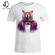 Hand Painted animal Print mens t shirts fashion 2016 Summer White Slim O-neck Short Sleeve T-shirt Men Brand Top Tees For men