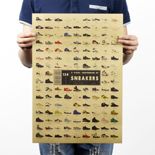 Sneakers Nostalgia Old Retro Kraft Poster Advertising Poster Vintage Decorative Painting Wall Sticker