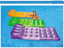 VILEAD 18 Hole Floating Mat with Pillow Belt Floating Inflatable Bed Beach Water Lounge Raft With See-through Window(China)