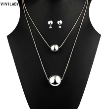 VIVILADY New Hot Silver Color High Quality Plastic Balls Beads Jewelry Sets Women Layers Long Necklaces Earrings Accessory Gift