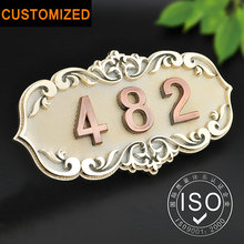 Number of House Room Gate European Style Classic Brone Like ABS Custom-made 3 to 4 Numbers Customized Hotel Door Plate Hotel(China)