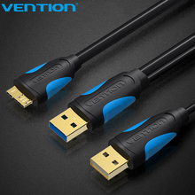Vention Micro USB3.0 Dual USB With Power Supply Cable Male To Male USB Fast Speed 5Gbps Data Sync USB Cable For HD Camera Phone(China)