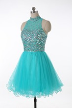 Favordear Mint green Navy Blue Peach Party Dress High Neck puffy Crystal Homecoming Cocktail Dress Bling Bling Short Prom Dress(China)