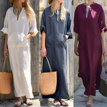 Buy Celmia Vintage Linen Dress Women 2018 Autumn Sexy Deep V Neck Long Sleeve Split Solid Casual Party Maxi Vestido Kaftan Plus Size for $14.57 in AliExpress store