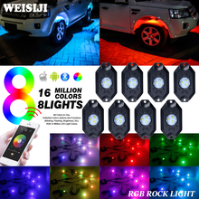 WEISIJI 8 Pods/Set Car Decorate Phone Bluetooth Controller RGB LED Rock Light with Cree Chips for 4*4 Off-road Jeep Hummer SUV