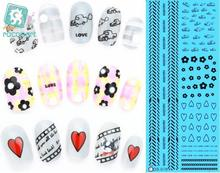RU2PCS DS059 Water Transfer Foils Nail Art Sticker Fashion Nails Harajuku Element Manicure Decals Minx Cute Nail Decorations(China)