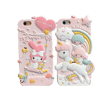 Luxury 3D Cute My Melody Little Twin Stars Silicon Soft Case For iPhone 6 6S 7 Capa Para For iPhone 7Plus 6Plus Cover With strap(China)