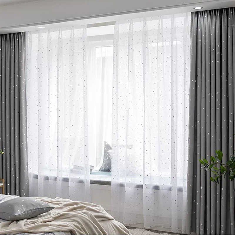 Shiny Sliver Star Tulle Curtains Screening Door Curtain Transparent Window Drapes Sheer for Living Room Bedroom 5 Sizes White
