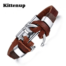 Kittenup Brown Genuine Leather Bracelets Charm Mens Jewelry Anchor Male Accessories