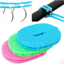 1PCS Colorful Adjustable Windproof Nylon Outdoor Anti Slip Slide Drying Clothes Hanger Clothesline Rope Line Cord String Random