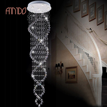 New Modern Double Spiral K9 Crystal Lighting Ceiling Lamp Raindrop Light Chandelier Lights