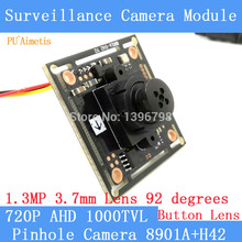 "PU`Aimetis Button 3.7mm Lens Mini Pinhole camera HD 1/4 ""CMOS image sensor 1000TVL AHD CCTV night vision camera module(China)"