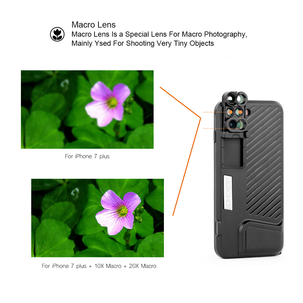 18 New Arrival Dual Camera Lens For iPhone X 8 Plus Fisheye Wide Angle Macro Lens For iPhone 7 Plus Phone Case Telescope Lens 7