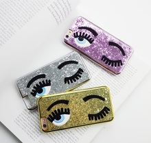 20% off buy 2pcs Cute Bling Shiny Big Eyes Oxeye Eyelash Skin Proctive Case Cover for iPhone 5 5S 6 6S 6Plus 7 7Plus(China)
