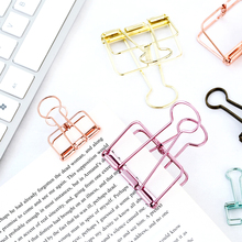 Free shipping Vintage brief metal cutout clip liras storage paper clip dovetail clip gold silver metal binder clips(China)