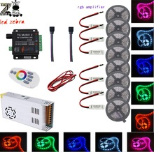 10m/20m/30m/40m 5050 SMD rgb led strip light+music 2 led controller+12v led power transformer+rgb led amplifier+5m 2pin led wire