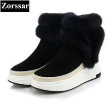{Zorssar} 2017 NEW Classic winter Plush Women Boots cow Suede Ankle Snow Boots Female Warm Fur women shoes platform leather(China)