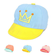 New Fashion Baseball Caps Flanging Crown Hats 1-3 Years Snapback Outdoor Sport Sun Cap Baby Boys Girls  Happy Letter Infant Hats
