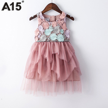 A15 Kids Girl Ball Gown Dress 2017 Toddler Girl Summer Lace Dress 6 8 10 12 Year Princess Birthday Party Dress Children Clothing(China)