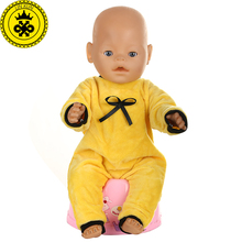 Baby Born Doll Clothes Yellow Jumpsuits Clothes fit Baby Born Zapf Doll Clothes and 40-46CM Doll Accessories 539(China)